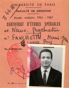 1966 : carte d'étudiant en médecine (faculté de Paris), spécialisé en neuro-psychiatrie.