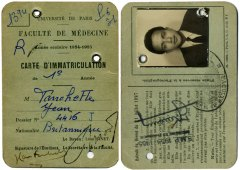 1954 : sa carte d'étudiant en première année de médecine à Paris.